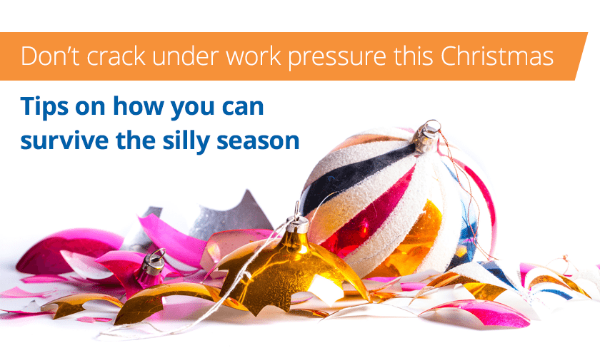 Tips for reducing stress as Christmas banner